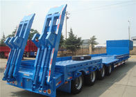 Heavy Equipment Delivery Lowboy Semi Trailer 4 Axle 80tons Top Flange Thickness 14mm